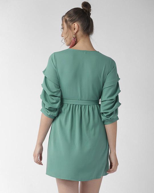 Shop Style Quotient Women Green Solid A-Line Dress-Design