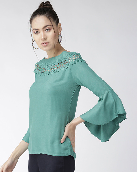 Shop Style Quotient Women Green Solid A-Line Top-Back