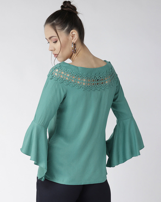 Shop Style Quotient Women Green Solid A-Line Top-Design