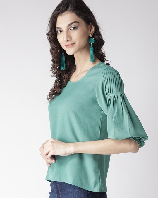 Shop Women Green Solid A Line Top-Back
