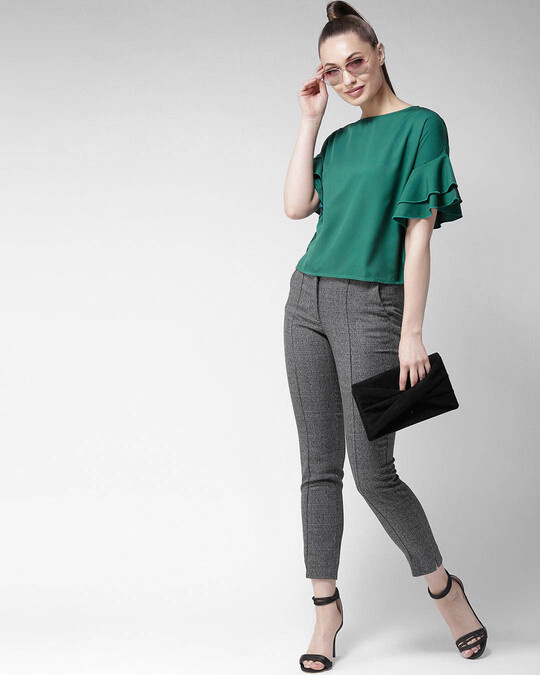 Shop Style Quotient Women Green Solid Top-Full