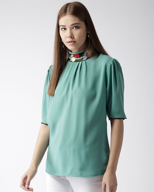 Shop Style Quotient Women Green Solid Top-Back
