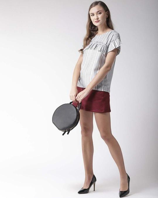 Shop Women Grey & White Striped Top-Full