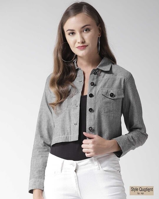 Shop Style Quotient Women Grey Chambray Regular Fit Solid Casual Crop Shacket-Front
