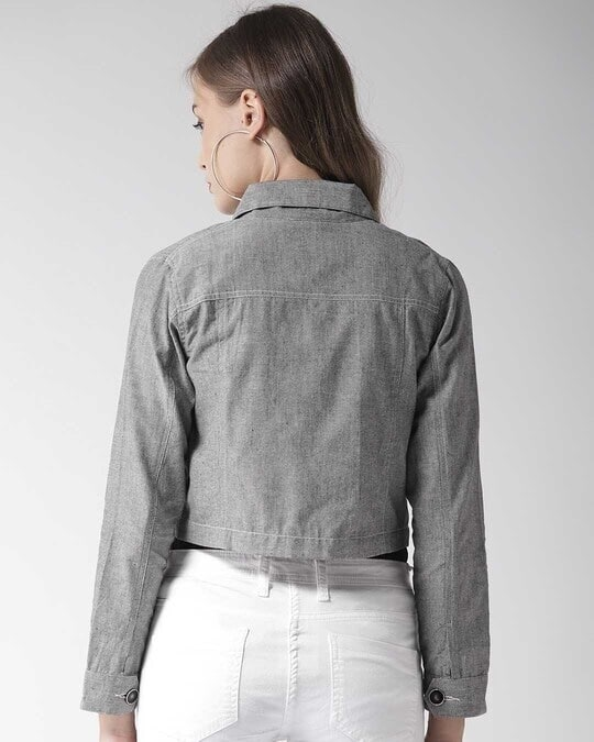 Shop Style Quotient Women Grey Chambray Regular Fit Solid Casual Crop Shacket-Design