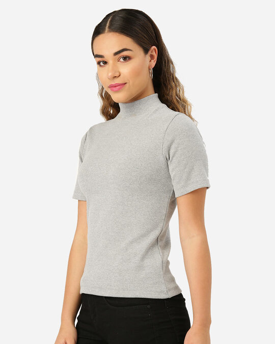 Shop Style Quotient Women Grey Melange Solid Fitted Top-Back