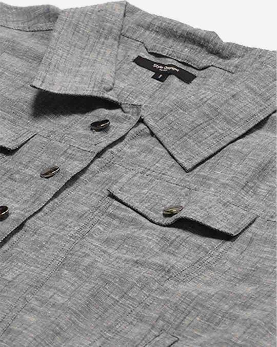 Shop Women Grey Regular Fit Solid Crop Shacket-Back