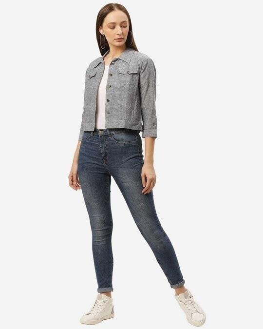 Shop Women Grey Regular Fit Solid Crop Shacket