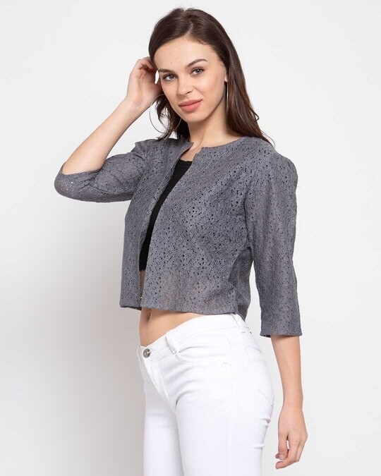 Shop Women Grey Self Design Open Front Shrug-Back