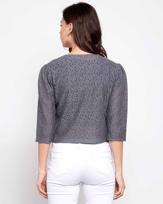 Shop Women Grey Self Design Open Front Shrug-Design