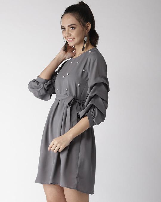 Shop Style Quotient Women Grey Solid A-Line Dress-Back