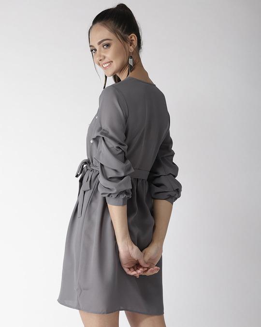 Shop Style Quotient Women Grey Solid A-Line Dress-Design