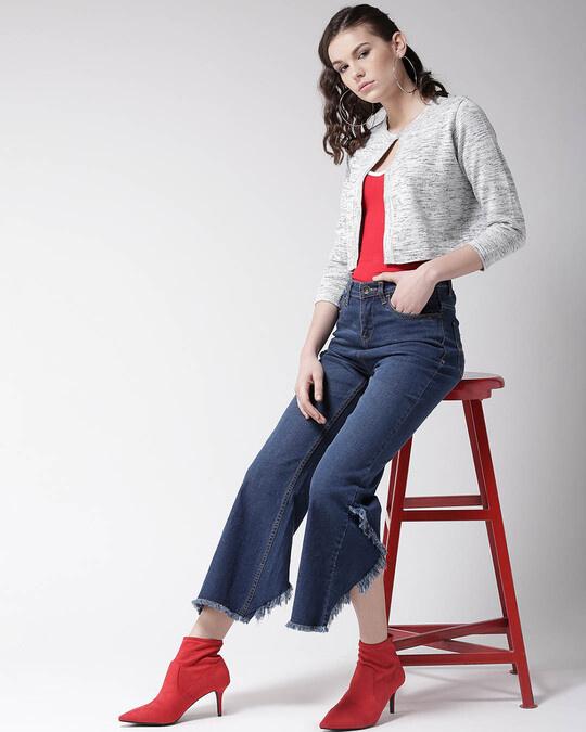 Shop Women Grey Solid Button Crop Shrug-Full