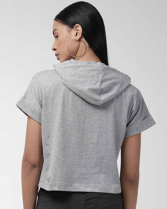 Shop Women Grey Solid Hooded Sweatshirt-Design