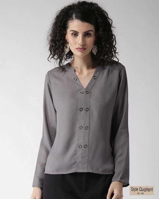Shop Women Grey Solid Top-Front