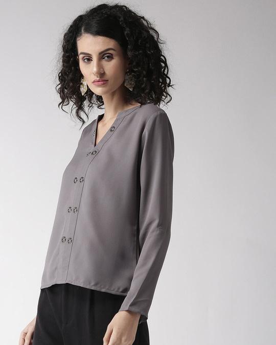 Shop Women Grey Solid Top-Back