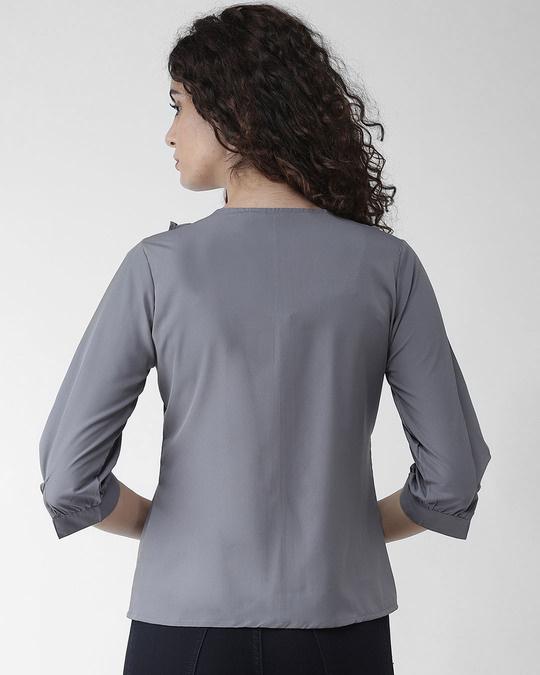Shop Style Quotient Women Grey Solid Top-Design
