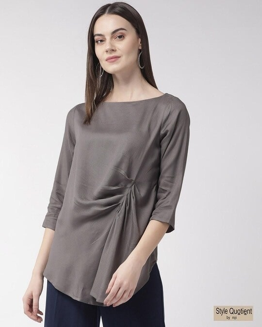 Shop Women Grey Solid Twisted High Low Top-Front