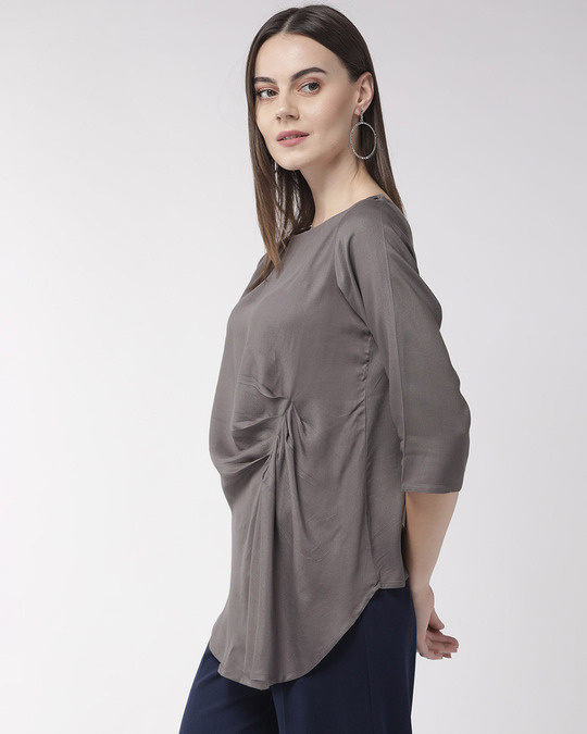 Shop Women Grey Solid Twisted High Low Top-Back