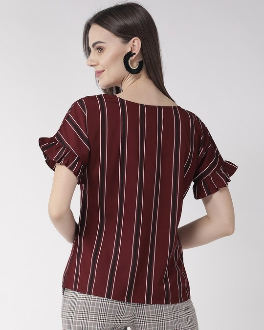 Shop Women Maroon & Black Striped Top-Design