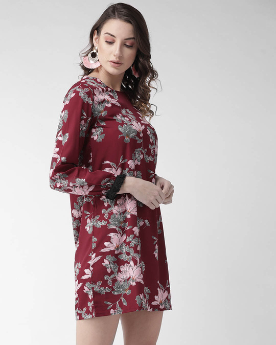 Shop Style Quotient Women Maroon & Grey Printed Mini A-Line Dress-Back