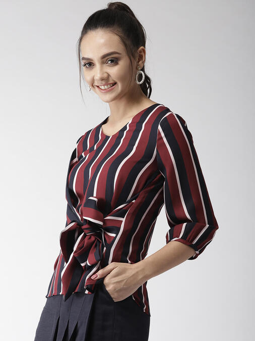 Shop Style Quotient Women Maroon & Navy Blue Striped Top-Back