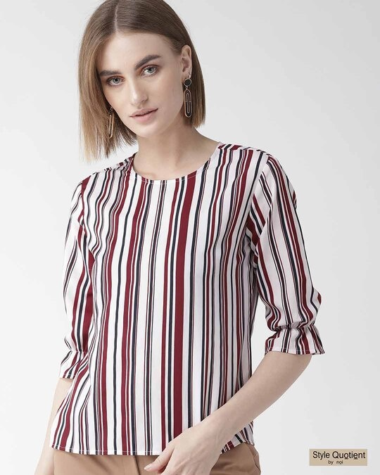 Shop Women Maroon & Off White Striped Regular Top-Front