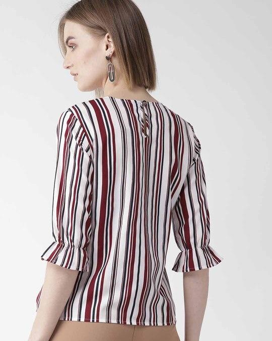 Shop Women Maroon & Off White Striped Regular Top-Design