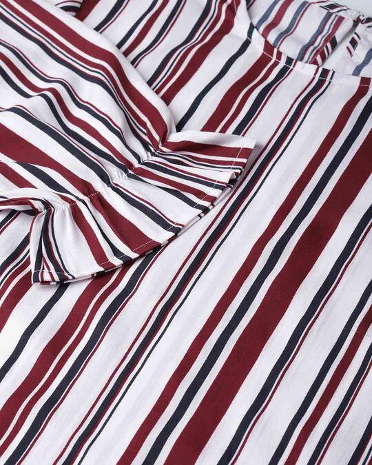 Shop Women Maroon & Off White Striped Regular Top