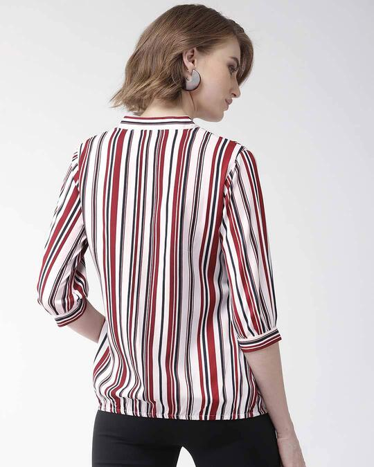 Shop Style Quotient Women Maroon & White Striped Shirt Style Top-Design