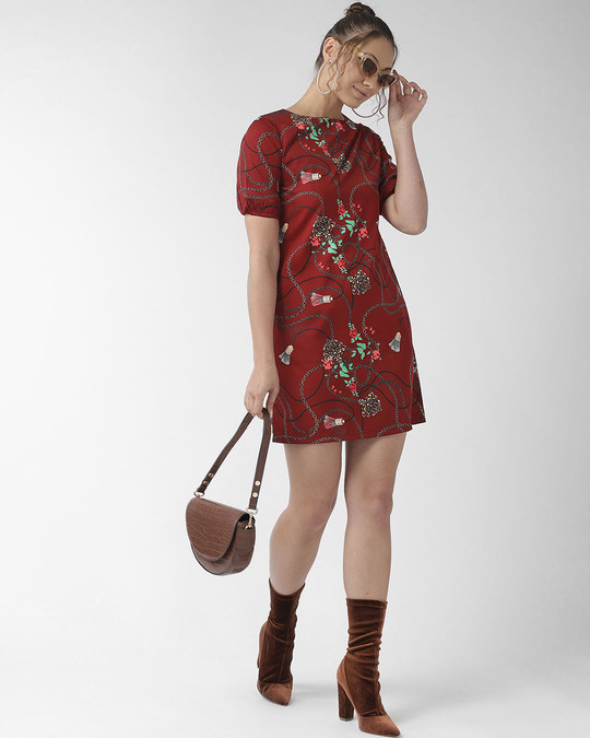 Shop Style Quotient Women Maroon Floral Printed Sheath Dress-Full