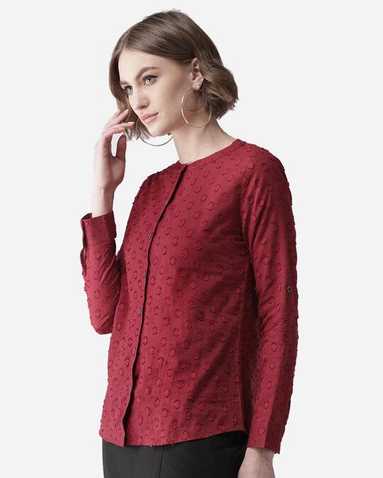 Shop Women Maroon Self Design Casual Shirt-Back