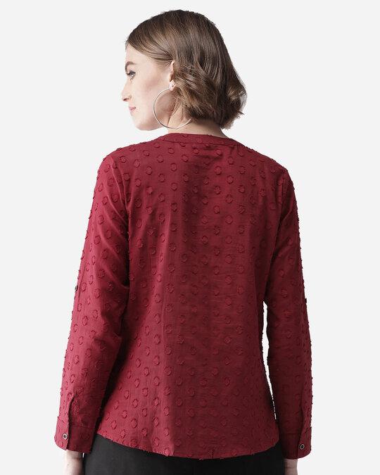 Shop Women Maroon Self Design Casual Shirt-Design