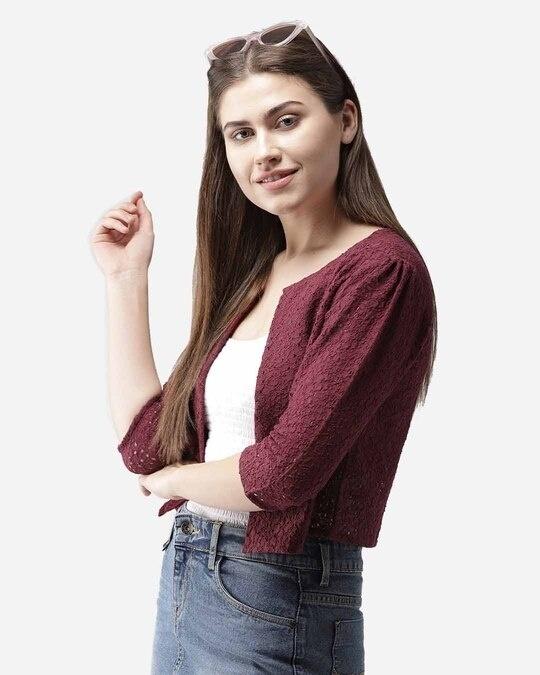 Shop Style Quotient Women Maroon Self Design Open Front Shrug-Design