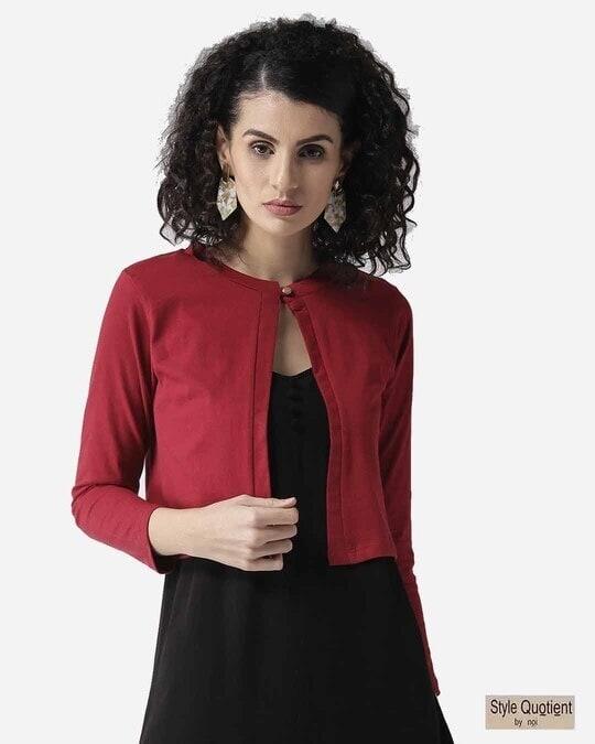 Shop Style Quotient Women Maroon Solid Crop Button Shrug-Front