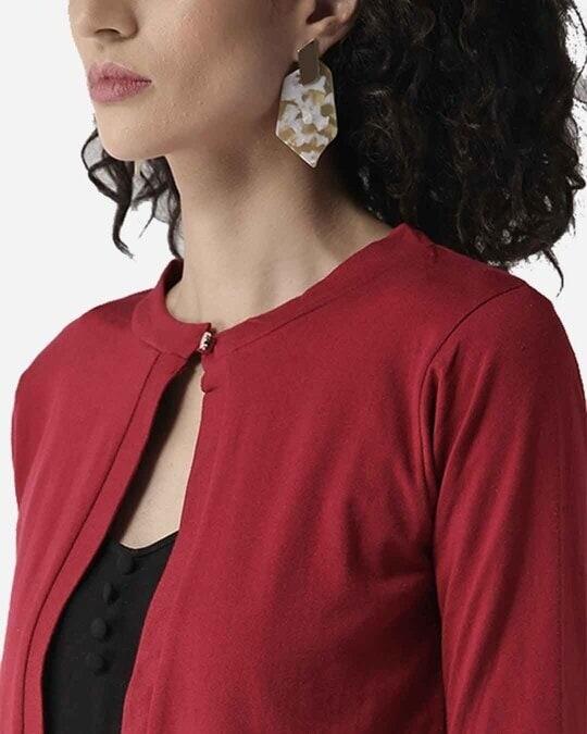 Shop Style Quotient Women Maroon Solid Crop Button Shrug-Back