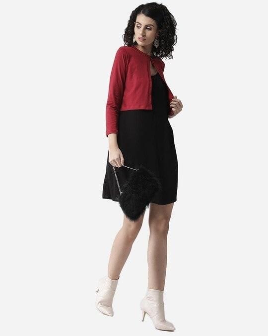 Shop Style Quotient Women Maroon Solid Crop Button Shrug