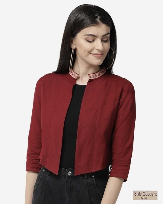 Shop Style Quotient Women Maroon Solid Cropped Open Front Shrug-Front