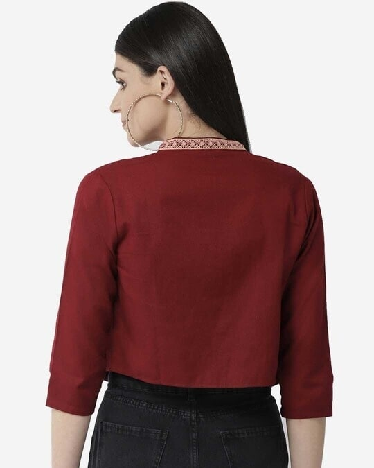 Shop Style Quotient Women Maroon Solid Cropped Open Front Shrug-Design