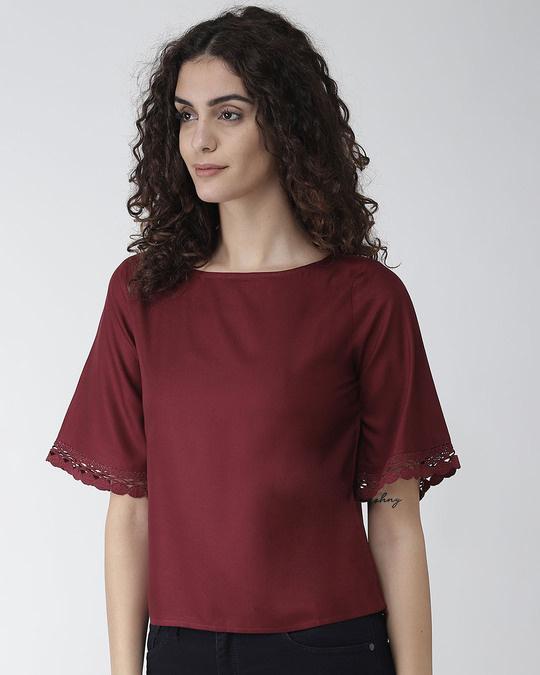 Shop Women Maroon Solid Top-Back