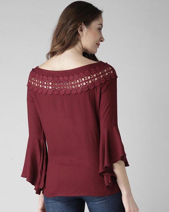 Shop Style Quotient Women Maroon Solid Top-Design