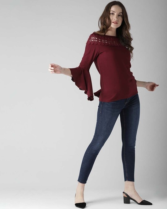 Shop Style Quotient Women Maroon Solid Top-Full