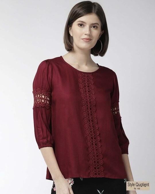 Shop Style Quotient Women Maroon Solid Top-Front