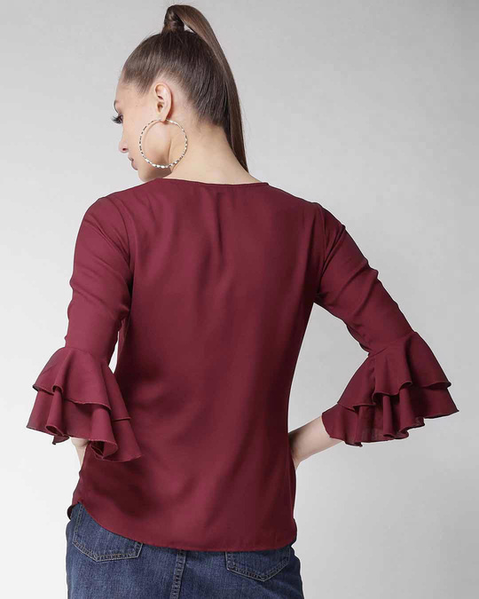 Shop Style Quotient Women Maroon Solid Top-Design