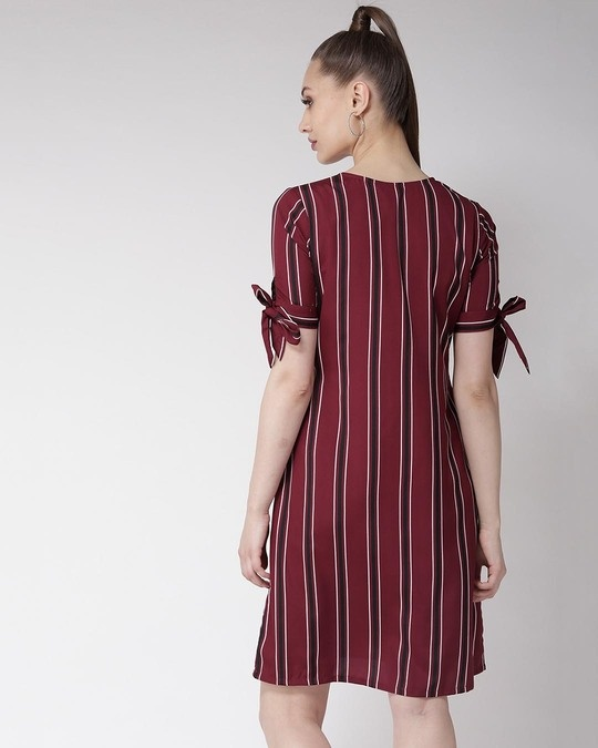 Shop Women Maroon Striped A Line Dress-Full