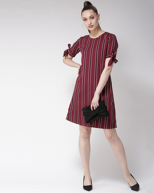 Shop Women Maroon Striped A Line Dress