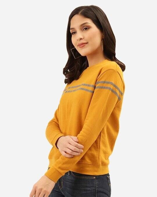 Shop Women Mustard Yellow & Grey Solid Sweatshirt With Striped Detail-Back