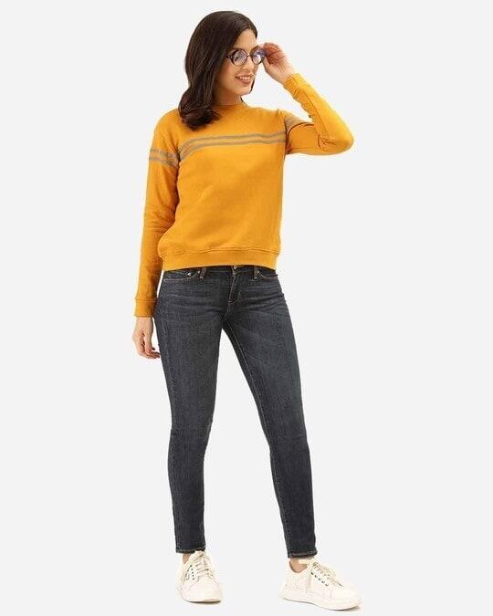 Shop Women Mustard Yellow & Grey Solid Sweatshirt With Striped Detail-Full