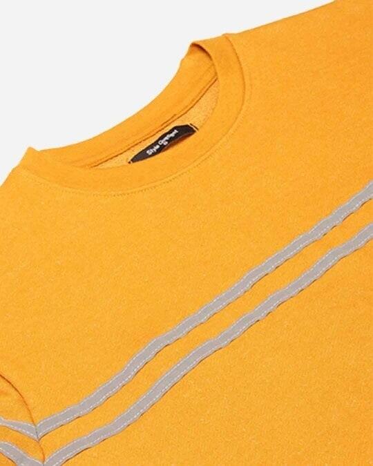 Shop Women Mustard Yellow & Grey Solid Sweatshirt With Striped Detail