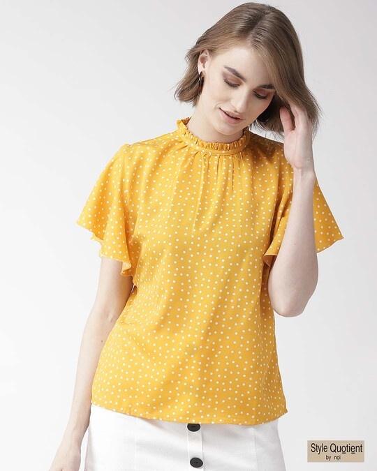 Shop Women Mustard Yellow & White Polk Dot Print Top-Front